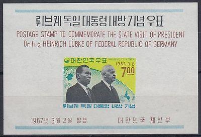 Korea Begeistert Korea 1967 ** Bl.247 Bundespräsident Heinrich Lübke President sq7728