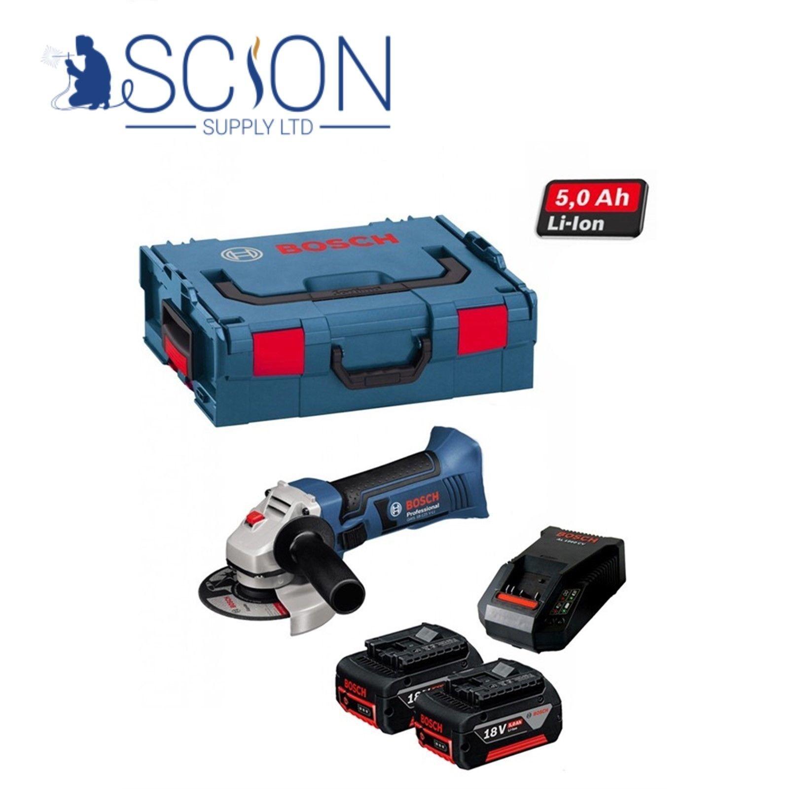 Bosch GWS18VLI 18v 115mm Angle Grinder Lithium-Ion c w 2 x 5.0Ah Batteries &Case