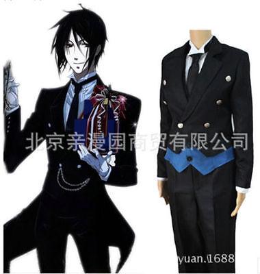 Hot! Black Butler Cosplay Costume Kuroshitsuji Sebastian Michaelis Black Uniform