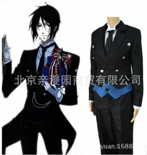 Hot! Black Butler Cosplay Costume Kuroshitsuji Sebastian Michaelis Black Uniform