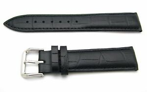 12-14-16-18-19-20-21-22-24mm-New-Black-Real-Leather-Wrist-Watch-Band-Strap-Belt