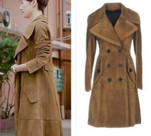 daim coupe longues Womens en veste de vent Slim Fit tranchées revers manteau Outwear occasionnel PRxYxStqwA