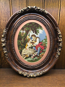 Antique Victorian Needlepoint Picture Carved Wood Walnut Oval Ornate Frame  (B)
