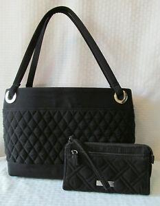 VERA-BRADLEY-Solid-Large-Black-Quilted-Shoulder-Bag-amp-Zip-Wallet-Silver-Accents