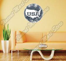 "USA United States Map Grunge Vintage Wall Sticker Room Interior Decor 22""X22"""