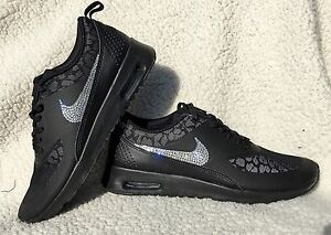 reputable site 3483b b3f38 Details about Nike Air Max Thea Black Cheetah Leopard Print W Swarovski  Crystals Bling