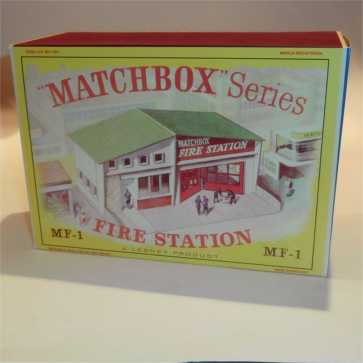 Matchbox Lesney Accessory MF-1a Fire Station Green Roof empty Repro D style Box