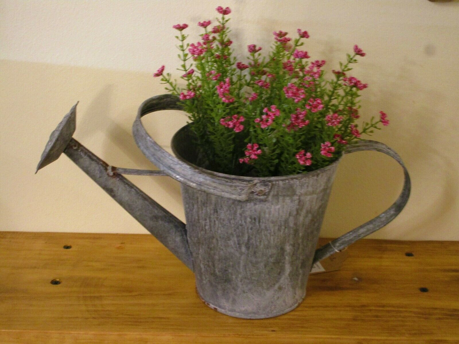 Weathered Gray Zinc Watering Can / Planter