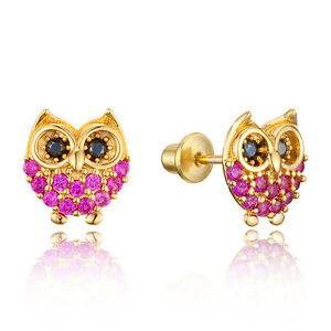 24b9e50b8 14k Gold Plated Brass Children Baby Owl Screwback Girls Earrings w ...