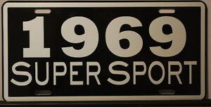 METAL LICENSE PLATE 1969 69 SUPER SPORT SS CAMARO IMPALA NOVA CHEVELLE EL CAMINO