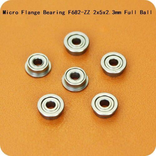 F682ZZ 2x5x2.3mm Micro Flange Deep Groove Ball Bearing  Full Ball Bearing Steel