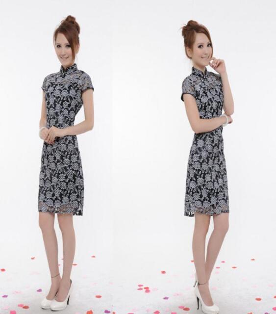 Chinese Fashion Womens Lace Cheongsam Evening Dress/Qipao New EN