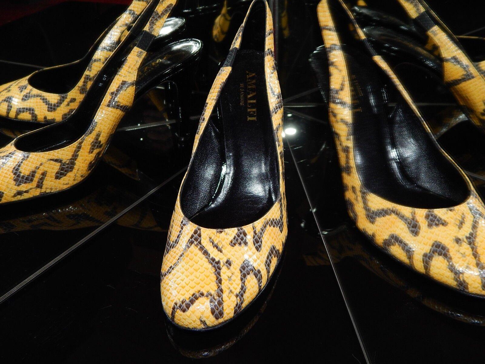 NIB AMALFI $238 Snakeskin pattern Slingback Heels LEATHER 10 B