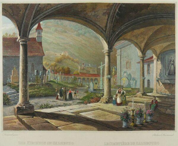 Begeistert Salzburg Österreich Kirchhof St. Peter Friedhof Ansicht Frommel 1842 L32