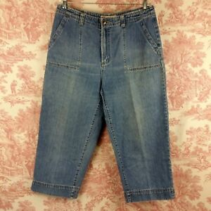 efcb0e2cc5233 Faded Glory Capri Jeans Size 14 Cropped Womens Blue Denim Back flap ...