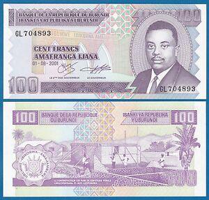 P-44 2011 LOT Burundi UNC /> Reduced Size Issue 10 x 100 Francs