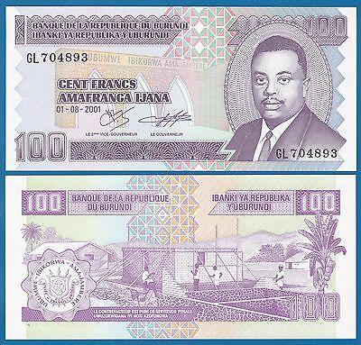 BURUNDI 100 FRANCS 1993 P 37 UNC