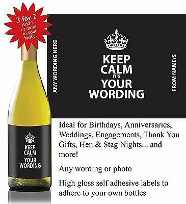 016 Personalised Birthday Anniversary Thank You Hen Bottle Label Gift *3 for 2*