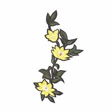 Yellow Green Leaf XL Flower (Iron on) Embroidery Applique Patch Sew Iron Badge