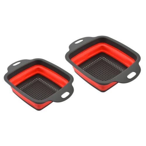 2pcs silicone passoire pliante ensemble rectangle crépine pliante pliable