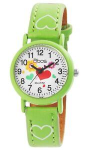 Qbos-Kinderuhr-Gruen-Herz-Blume-Analog-Kunst-Leder-Quarz-Armbanduhr-X4900002008