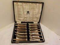 Boxed Set 6 Horn Handled Steak Knives & 6 Forks,stainless,made By Elkington