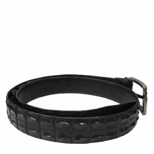 Unjointed Black Genuine Alligator Crocodile Leather Skin Men Belt W:3,8 cm #2