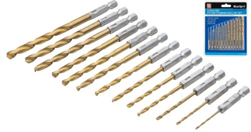 """Bluespot 13pc 1//4/"""" Hex Fitting Titanium Drill Bit Set For Metal Wood fits impact"""