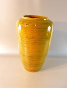 Tolle-grosse-Vase-in-gelb-BAY-Vase-Vintage-West-Germany-638-30