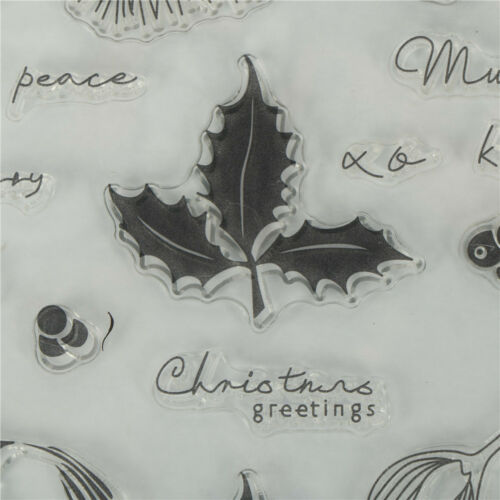 Christmas Pine and leaves Scrapbooking Album Card Decor DIY Clear Stamps FEH