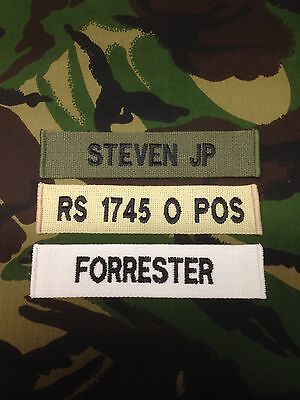 OFFICAIL MILITARY WEBBING NAME TAPE OR ZAP BADGE DETAILS VELCRO BACKED ( X1 )