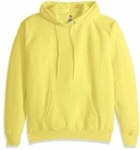 Hanes-Men-039-s-Pullover-EcoSmart-Fleece-Hoodie-Black-Large-Yellow-Size-Medium