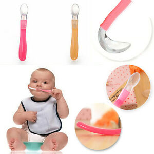 New-Silicone-Baby-Feeding-Spoon-Soft-Weaning-Handle-Baby-Girl-Boy-2-Colour-UK