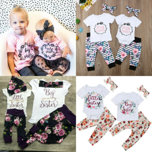UK 3PCS Big Little Sister Baby Kids Girl T-shirt Romper+Floral Pants Outfits Set