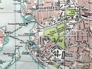 Map Of England Portsmouth.Details About Antique Color Map Portsmouth England 100 Authentic Rare Original 1930
