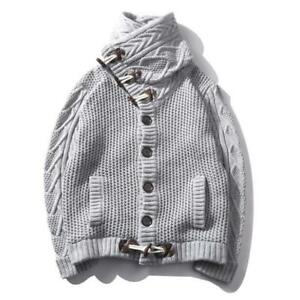 Details about Men Vintage Claw Button Turtleneck Sweater Fashion Cardigan One Breasted Coat