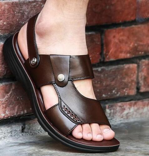 Mens Open-toe Buckle Flat Casual Faux Leather Beach Sandals Roman Slippers Shoes