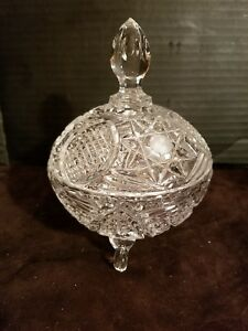 Vintage-Cut-Glass-3-Footed-Covered-Candy-Nuts-Dish