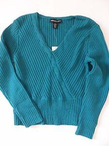 Women-039-s-Norton-McNaughton-Cotton-Blend-Turquoise-V-Neck-Sweater-Size-XL