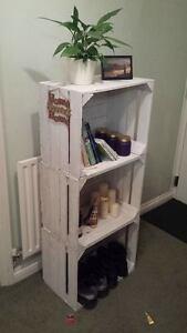 Diligent Peint En Blanc Européen Vintage En Bois Apple Crate Box Shabby Cottage Chic!-afficher Le Titre D'origine