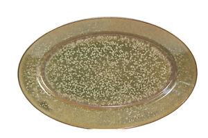 Jaune-de-Chrome-SONG-15-7-8-034-Oval-Serving-Platter-Limoges-Olive-Green-amp-Gold