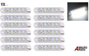 12x-LED-12V-24V-FRONT-SIDE-WHITE-CLEAR-MARKER-LAMPS-LIGHTS-TRUCK-LORRY-OUTLINE