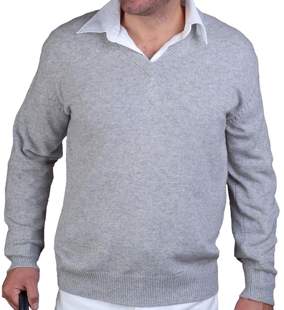 Balldiri 100% Cashmere Herren Pullover V-Ausschnitt 4-fädig hellgrau meliert M