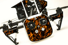 DJI Inspire 1 Quadcopter/Drone, Transmitter, Battery Wrap/Skin | Orange Flames