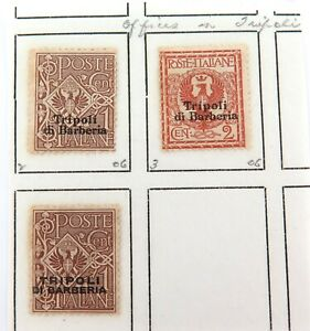 ITALY-c1909-ITALIAN-ITALY-OFFICES-in-TRIPOLI-3-MH-HIGH-GRADE-OVERPRINT-STAMPS