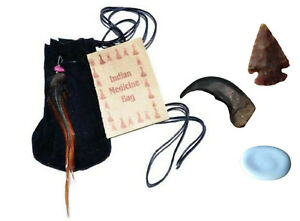 3-034-Medicine-Poke-Bag-Black-Native-American-Free-Arrowhead-Worry-Stone-Bear-Claw