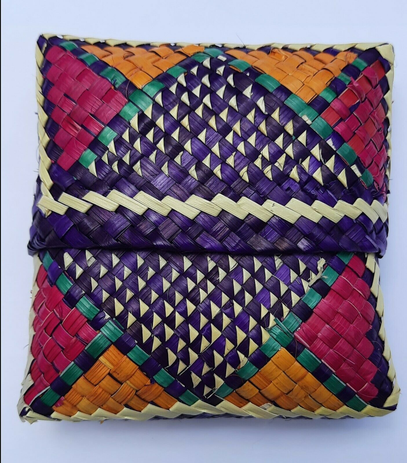HANDMADE WALLET EARPHONE POUCH woven palm leaves reed eco friendly traditional