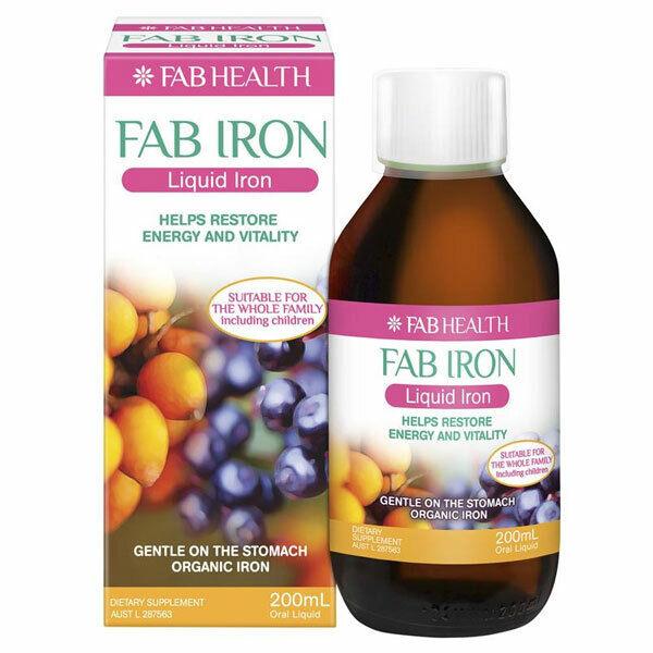 FAB HEALTH LIQUID IRON 200ML EASY TO ABSORB LIQUID IRON TO RESTORE HEALTH