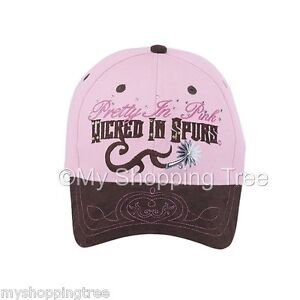 Pretty-in-Pink-Wicked-in-Spurs-Equestrian-Western-Horse-Baseball-Cap-NWT