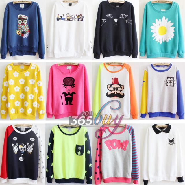 Women Ladies Casual Flocking Fleece Sweater Print Sweatshirt Hoodie Pullover TOP